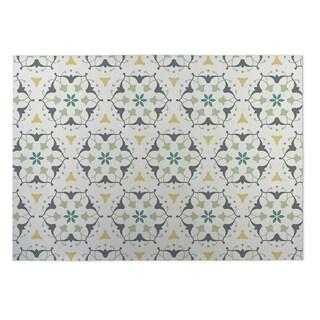 Kavka Designs Ivory/ Grey/ Yellow/ Green Kaleidoscope 2' x 3' Indoor/ Outdoor Floor Mat
