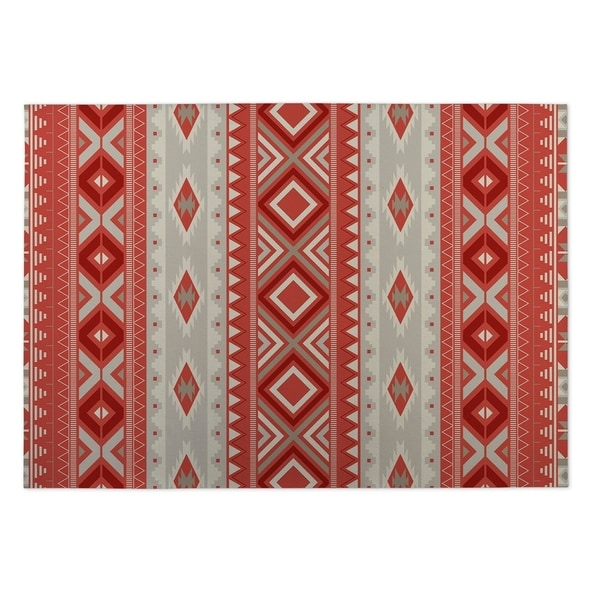 Kavka Designs Red Santa Fe 2' x 3' Indoor/ Outdoor Floor Mat