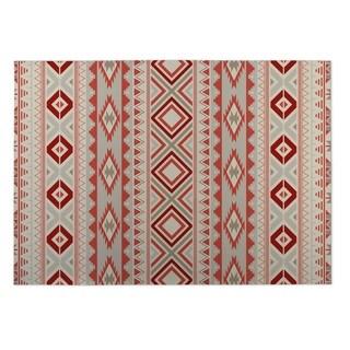 Kavka Designs Grey/ Red Santa Fe 2' x 3' Indoor/ Outdoor Floor Mat