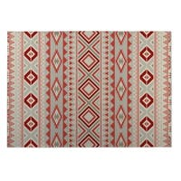 Kavka Designs Grey/ Red Santa Fe 2' x 3' Indoor/ Outdoor Floor Mat