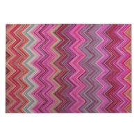 Kavka Designs Pink/ Purple/ Blue Pink Chevron 2' x 3' Indoor/ Outdoor Floor Mat