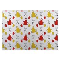 Kavka Designs Red/Yellow BBQ 2' x 3' Indoor/ Outdoor Floor Mat