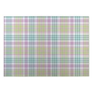 Kavka Designs Green/ Purple/ Blue BBQ 2' x 3' Indoor/ Outdoor Floor Mat