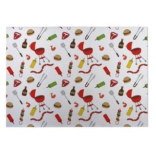Kavka Designs Red/ Green/ Yellow BBQ 2' x 3' Indoor/ Outdoor Floor Mat