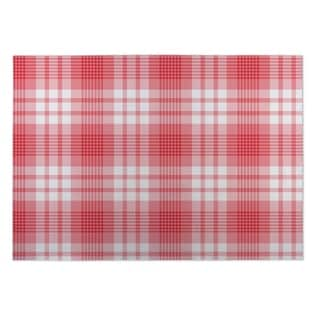 Kavka Designs Red/ Pink Christmas Ornaments Plaid 2' x 3' Indoor/ Outdoor Floor Mat