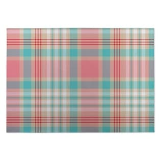 Kavka Designs Pink/ Blue/ Tan Latte Plaid 2' x 3' Indoor/ Outdoor Floor Mat