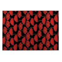 Kavka Designs Red/ Green/ Black Flanders Fields 2' x 3' Indoor/ Outdoor Floor Mat