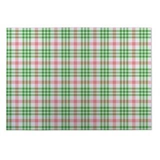 Kavka Designs Pink/ Green Candy Cane Plaid 2' x 3' Indoor/ Outdoor Floor Mat (Option: Pink)