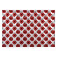 Kavka Designs Red/ Grey Hibiscus 2' x 3' Indoor/ Outdoor Floor Mat