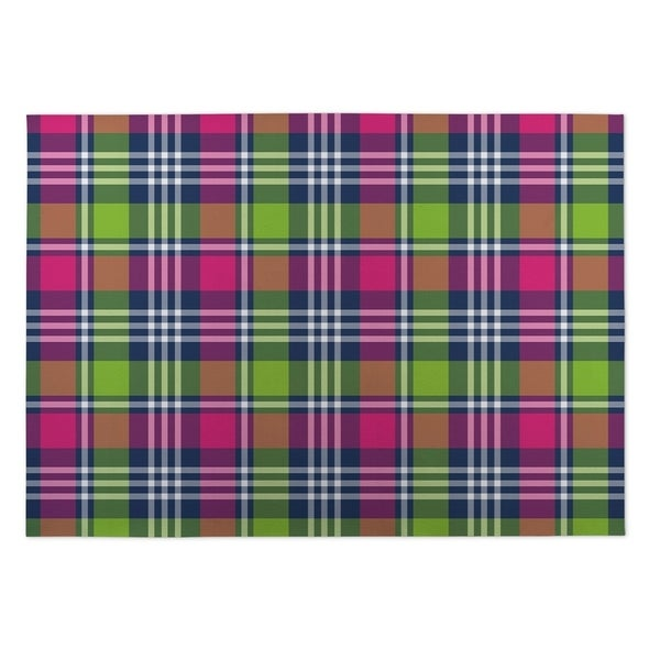 Kavka Designs Pink/ Green/ Blue Love Potion Plaid 2' x 3' Indoor/ Outdoor Floor Mat