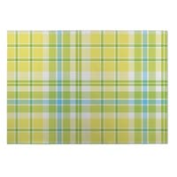 Kavka Designs Yellow/ Blue/ Green Plaid Navy Aqua Lime 2' x 3' Indoor/ Outdoor Floor Mat