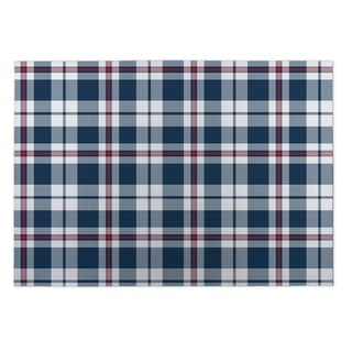 Kavka Designs Blue/ Red Plaid Navy Red 2' x 3' Indoor/ Outdoor Floor Mat