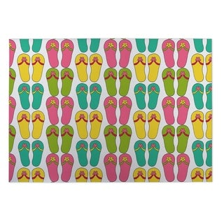 Kavka Designs Pink/ Yellow/ Blue/ Green Love Potion Plaid 2' x 3' Indoor/ Outdoor Floor Mat