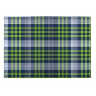 Kavka Designs Blue/ Green Love Potion Plaid 2' x 3' Indoor/ Outdoor Floor Mat