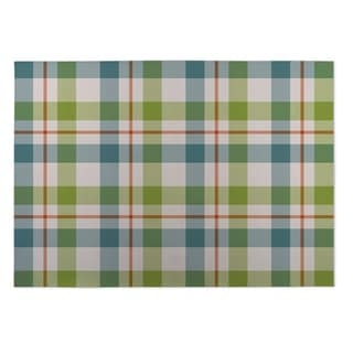 Kavka Designs Green/ Blue/ Orange Fishing Plaid 2' x 3' Indoor/ Outdoor Floor Mat