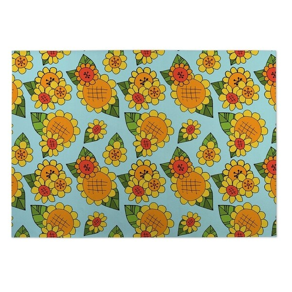Kavka Designs Blue/ Green/ Orange/ Red Sunshine 2' x 3' Indoor/ Outdoor Floor Mat