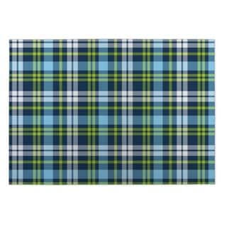 Kavka Designs Blue/ Green Plaid Navy Red 2' x 3' Indoor/ Outdoor Floor Mat