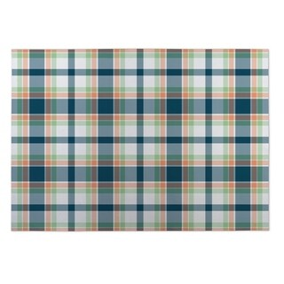 Kavka Designs Blue/ Green/ Orange Plaid Green Yellow 2' x 3' Indoor/ Outdoor Floor Mat