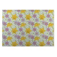 Kavka Designs Green/ Yellow/ Purple Floral 2' x 3' Indoor/ Outdoor Floor Mat