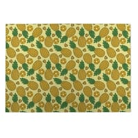 Kavka Designs Yellow/ Green Plaid Coral Navy Mint 2' x 3' Indoor/ Outdoor Floor Mat