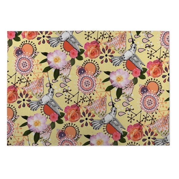Kavka Designs Yellow/ Pink/ Purple/ Orange Dream Of Garden 2' x 3' Indoor/ Outdoor Floor Mat