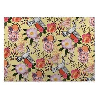 Kavka Designs Yellow/ Pink/ Purple/ Orange Dream Of Garden 2' x 3' Indoor/ Outdoor Floor Mat