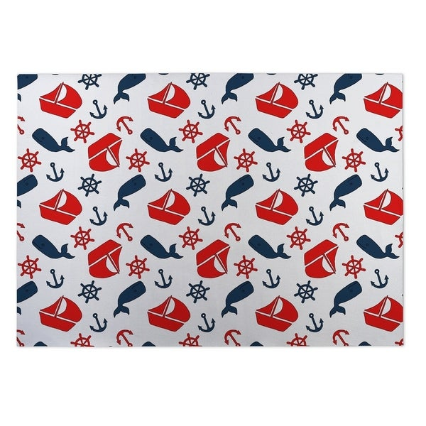 Kavka Designs Blue/ Red/ White Latte Plaid 2' x 3' Indoor/ Outdoor Floor Mat