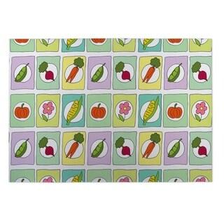 Kavka Designs Purple/ Yellow/ Orange Spring Doodles 2' x 3' Indoor/ Outdoor Floor Mat