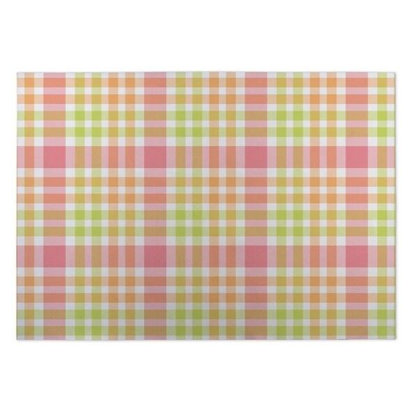 Kavka Designs Green/ Pink/ Orange Lemons 2' x 3' Indoor/ Outdoor Floor Mat