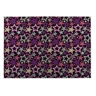 Kavka Designs Purple/ Blue/ Pink Star Spangled 2' x 3' Indoor/ Outdoor Floor Mat