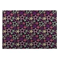 Kavka Designs Purple/ Blue/ Pink Star Spangled 2' x 3' Indoor/ Outdoor Floor Mat