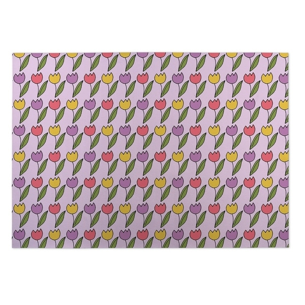 Kavka Designs Purple/ Pink/ Yellow Christmas Plaid 2' x 3' Indoor/ Outdoor Floor Mat