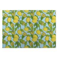 Kavka Designs Blue/ Yellow/ Green Lemons 2' x 3' Indoor/ Outdoor Floor Mat