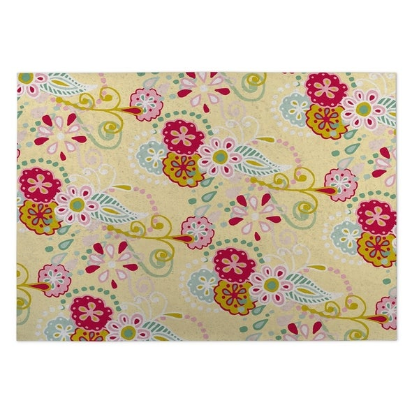 Kavka Designs Yellow/ Red/ Blue/ Green Spring Flora 2' x 3' Indoor/ Outdoor Floor Mat