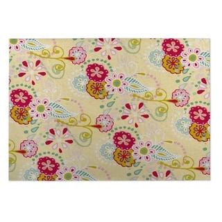 Kavka Designs Yellow/ Red/ Blue/ Green Spring Flora 2' x 3' Indoor/ Outdoor Floor Mat