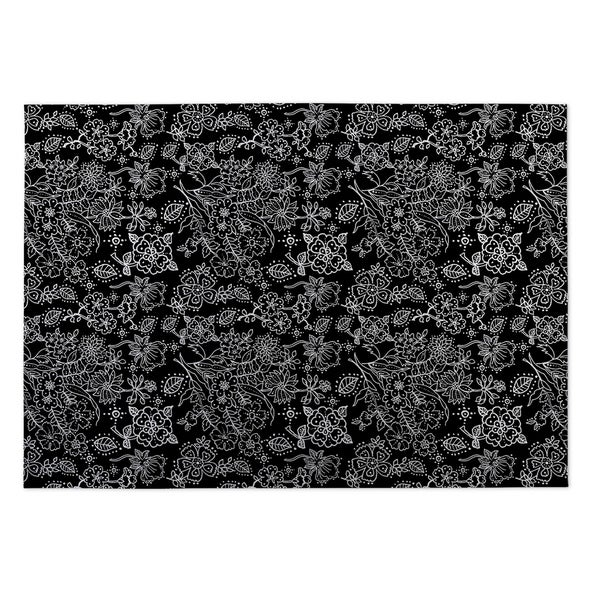 Kavka Designs Black Night Garden 2' x 3' Indoor/ Outdoor Floor Mat