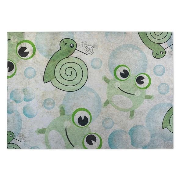 Kavka Designs Green/ Blue/ Ivory Snail U Later 2' x 3' Indoor/ Outdoor Floor Mat
