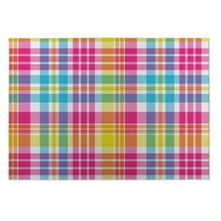 Kavka Designs Green/ Purple/ Pink/ Blue Tropical Plaid 2' x 3' Indoor/ Outdoor Floor Mat