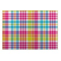 Kavka Designs Green/ Purple/ Pink/ Blue Tropical Plaid 2' x 3' Indoor/ Outdoor Floor Mat
