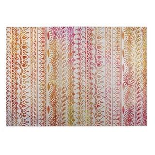 Kavka Designs Orange/ Pink/ Red Feathers 2' x 3' Indoor/ Outdoor Floor Mat