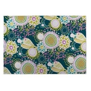 Kavka Designs Pink/ Blue/ Green Flourish 2' x 3' Indoor/ Outdoor Floor Mat