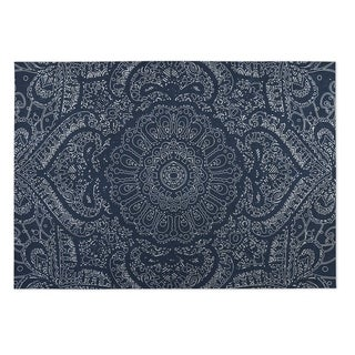 Kavka Designs Blue/ White Mandala 2' x 3' Indoor/ Outdoor Floor Mat