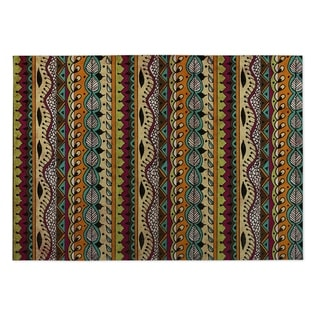 Kavka Designs Purple/ Blue/ Orange/ Tan Feathers 2' x 3' Indoor/ Outdoor Floor Mat
