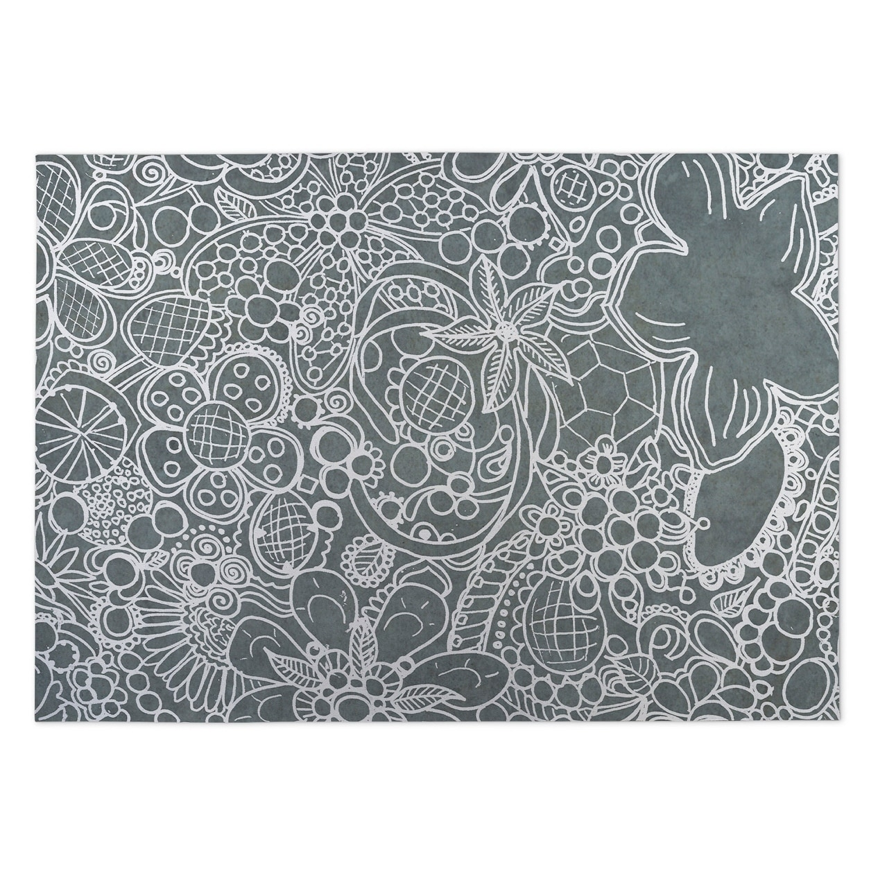 Kavka Designs White/ Grey Expressions 2 x 3 Indoor/ Outdoor Floor Mat (White - N/A - Bohemian & Eclectic)