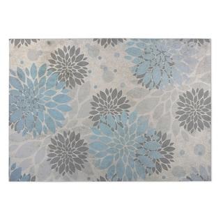 Kavka Designs Grey/ Blue Bloom 2' x 3' Indoor/ Outdoor Floor Mat