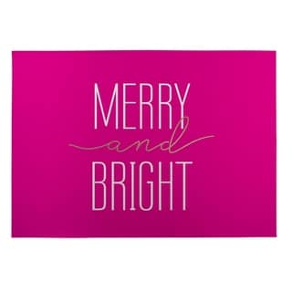Kavka Designs Pink Merry And Bright 2' x 3' Indoor/ Outdoor Floor Mat