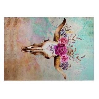 Kavka Designs Blue/ Tan/ Ivory/ Green/ Purple Deer Skull 2' x 3' Indoor/ Outdoor Floor Mat