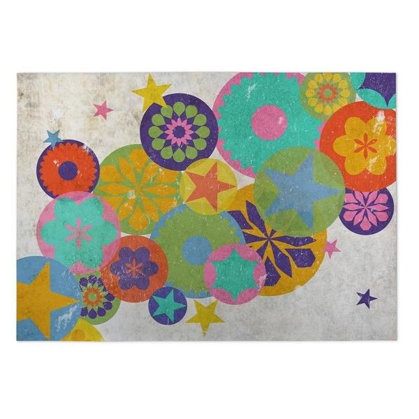 Kavka Designs Pink/ Yellow/ Blue/ Orange/ Green Rising Stars 2' x 3' Indoor/ Outdoor Floor Mat