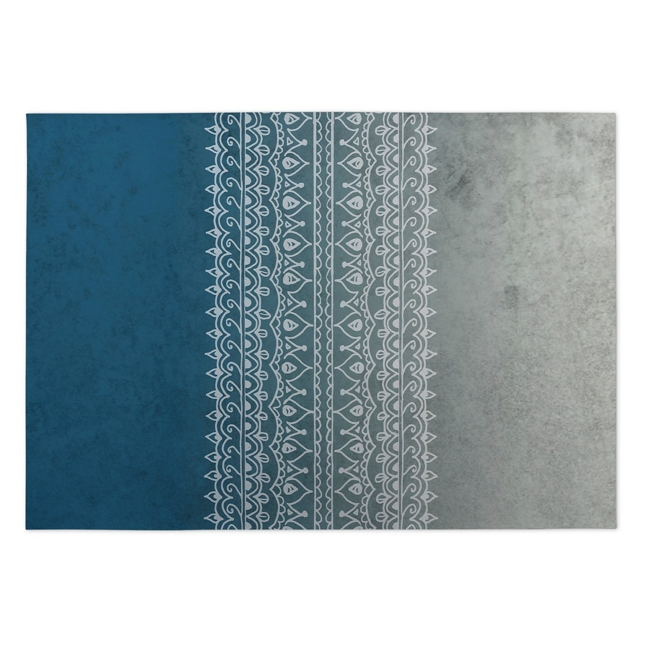 Kavka Designs Grey/ Blue Apostrophe 2 x 3 Indoor/ Outdoor Floor Mat (Grey - N/A - Modern & Contemporary)