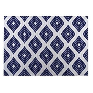 Kavka Designs Blue/ Grey/ White Botanical Studies ll 2' x 3' Indoor/ Outdoor Floor Mat